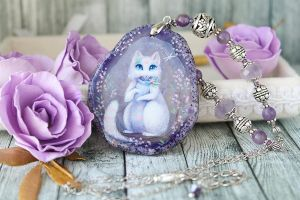 Little raccoon - hand painted pendant by LunarFerns