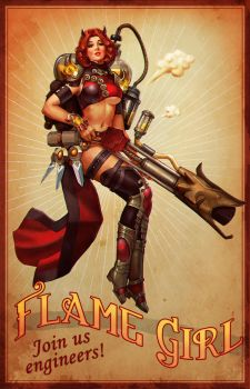 Flame Girl Pin-up by eloel