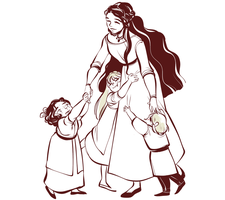 A Mother and Her Children by dottypurrs