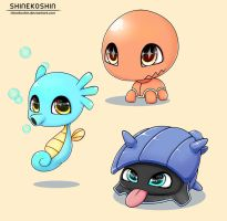 Baby Pokemon: Trapinch, Shellder and Horsea