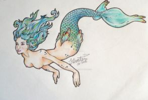 Mermaid Tattoo Design by dark-and-twitchy