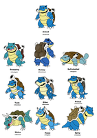 Blastoise variations by JWNutz