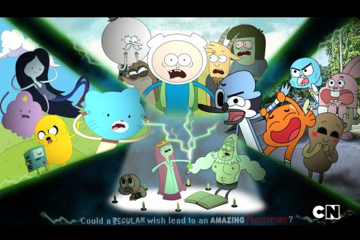 Regular Show, Adventure Time, World of Gumball by xeternalflamebryx