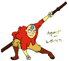 Aang With Staff -- Color Added by TophBeiFongz