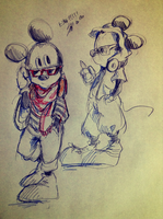 mickey mouse doodle by umineko3234