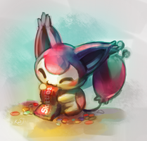 Skitty eating skittles