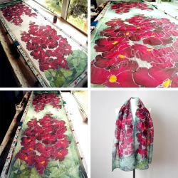 Hollyhock scarf - painting process by MinkuLul