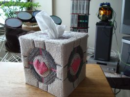 Companion Cube tissue cover by JavaKat