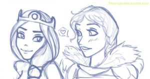 Young Elinor and Valka by FlamingToads