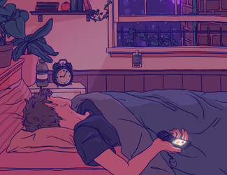 waiting for a text back (night) by Luxjii