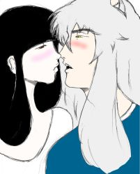 Inuyasha and Kikyou Kiss by TheDemonofDesire