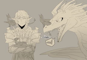FFXIV - Aymeric and dragons by RikawawaArt