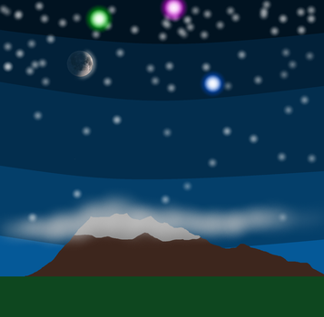 Mountain and 3D Moon by Mgodmode