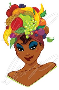 Woman is wearing a fruit hat by Elias-Chatzoudis
