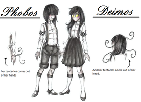Phobos and Deimos (Creepypasta/ Slenderverse OCs) by MikuParanormal
