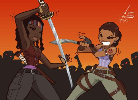 Michonne vs Sheva by GroundUpStudios