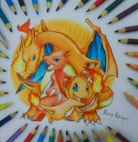 Fire Team  Charmander ~ Charmaleon ~ Charizard by AlexiaRodrigues