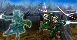 Art Trade: Fox and Eva Under Fire by MikeOrion