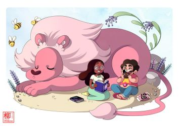 Steven Connie and Lion by Willow-San