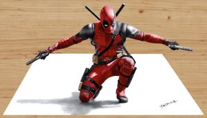 3D Colored Pencil Drawing of Deadpool by JasminaSusak