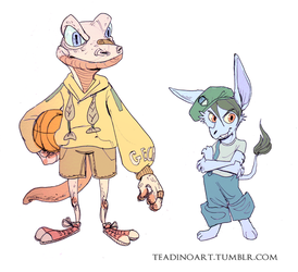 Gecko kid and Amelia by TeaDino