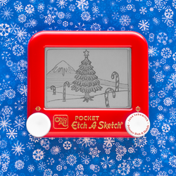 Winter Scene Candy Cane Etch A Sketch by pikajane