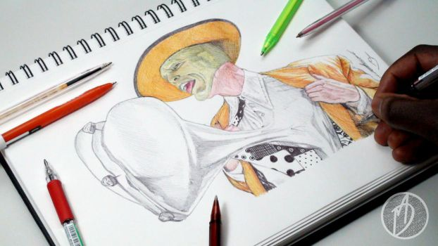 The Mask Ballpoint Pen Drawing - DeMoose Art by demoose21