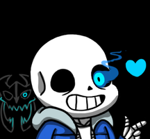 Sans - genocide route ohayou face by Hyamkeu