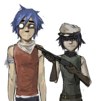 2D and Cyborg Noodle by ab-lynx