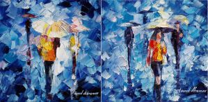 Rain of love - set of 2 by Leonid Afremov by Leonidafremov