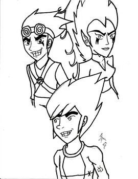 Jack Spicer, Wuya and Future Human Boy by RSforsevers