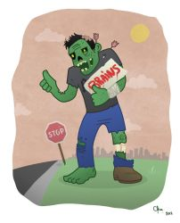 Hitchhiking zombie by Red-Cha
