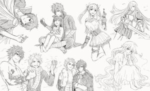 Fairy Tail Doodles by Hokorippen
