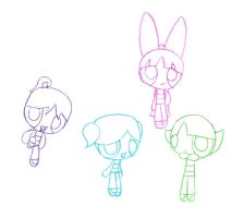 PowerPuff Girls + Bunny by TapinAnts