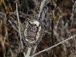 Steampunk owl pendant necklace by Hiddendemon-666