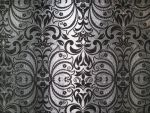 royal victorian floral pattern on silver fabric by synesthesea