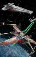 X-wing Dog Fight by j2Artist