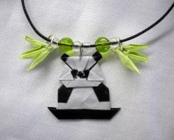 Origami Panda Charm Necklace by squeejie
