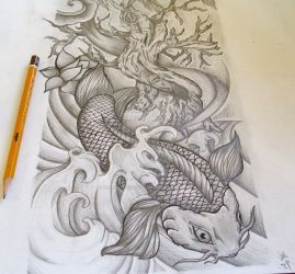 Koi full sleeve commission by josephblacktattoos