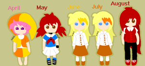 Month Girls line up by mitchika2