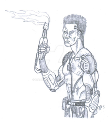 Cyborg with Flamethrower by Malcadon