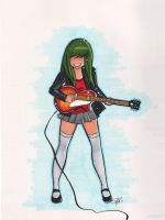 Katia Playing Guitar by starlinehodge