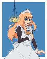 Anna hypnotized to dress like a maid by HirotoStar