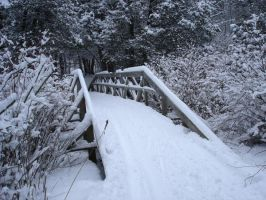 Snowy Bridge by MapleRose-stock