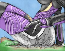Giantess Draw - Tali'Zorah shot 2 by Colonel-Gabbo