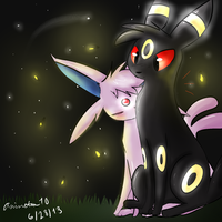 Umbreon and Espeon by animeten10