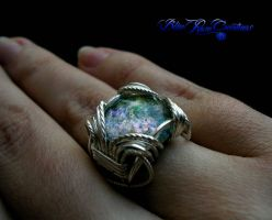 Green Opal - Silver Wire Wrapped Fairy Ring by LadyPirotessa