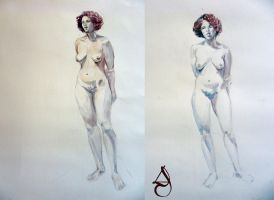 Watercolors model life drawing by lolalolita3