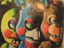 Five Nigths At Freddy's 2 toy animatronics draw by ErickMaster102