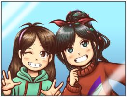 Mable And Vanellope - Costume Swap Selfie by Thaumana